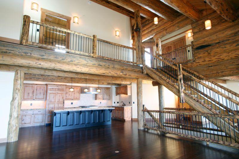 Log stairs and railing