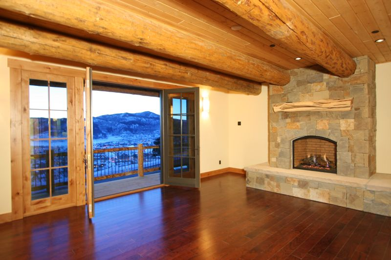 Fireplace and balcony