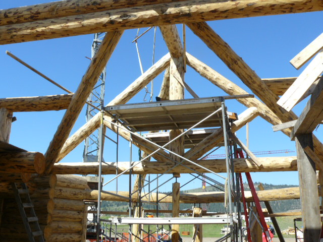 Log Truss and valley rafters