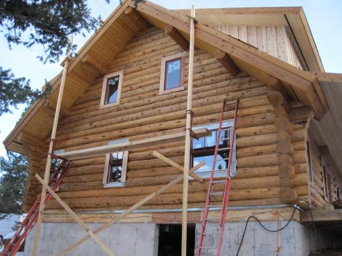 Gable with log siding in place