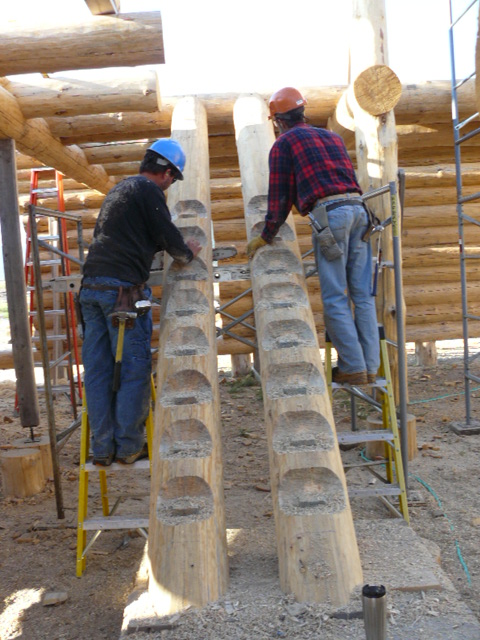 Logsmiths notching stairs