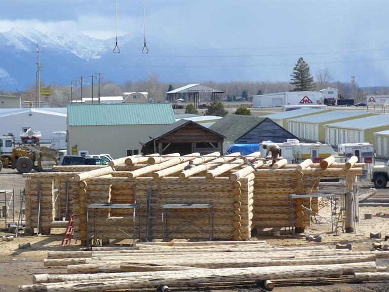 Loft logs ready to scribe