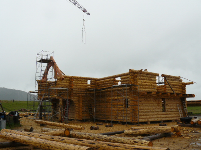 timber truss in place