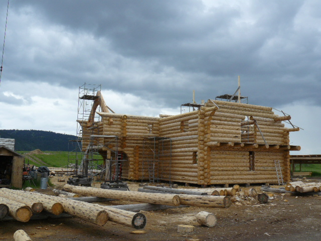 Beginning the full log gable ends