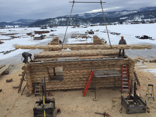 Setting first gable log