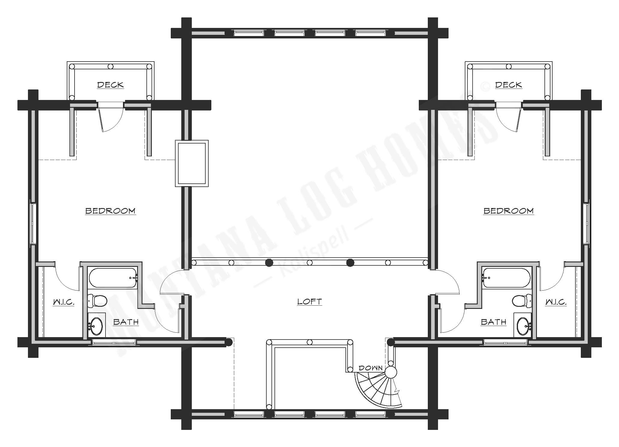 a floorplan of a log home